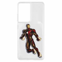 Чехол для Samsung S21 Ultra Iron man with the shadow of the lines