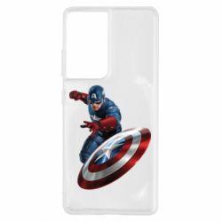 Чехол для Samsung S21 Ultra Капитан Америка