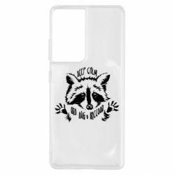 Чохол для Samsung S21 Ultra Keep calm and hug a raccoon