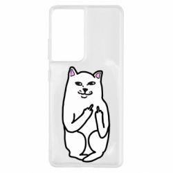 Чехол для Samsung S21 Ultra Кот с факом