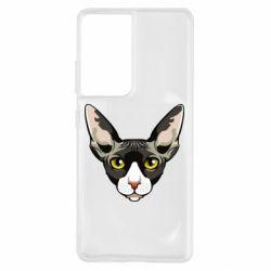 Чохол для Samsung S21 Ultra Котя сфінкс жовті очі