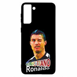 Чохол для Samsung S21 Ultra Крістіано Роналдо, полігональний портрет