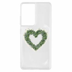 Чехол для Samsung S21 Ultra Lilies of the valley in the shape of a heart