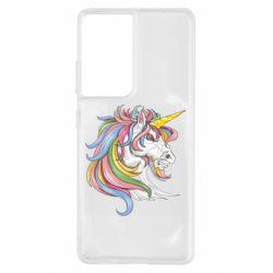 Чохол для Samsung S21 Ultra Кінь з кольоровою гривою