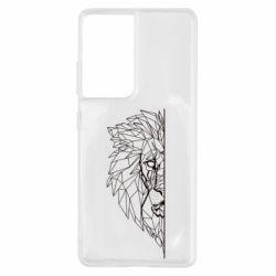 Чохол для Samsung S21 Ultra Low poly lion head