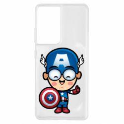 Чехол для Samsung S21 Ultra Маленький Капитан Америка