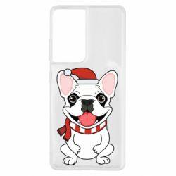 Чехол для Samsung S21 Ultra New Year's French Bulldog