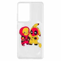 Чехол для Samsung S21 Ultra Pikachu and deadpool