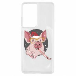 Чохол для Samsung S21 Ultra Portrait of the pink Pig in a red Santa's cap