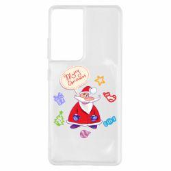 Чехол для Samsung S21 Ultra Santa says merry christmas
