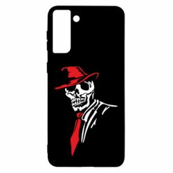 Чехол для Samsung S21 Ultra Skull in a hat with a tie