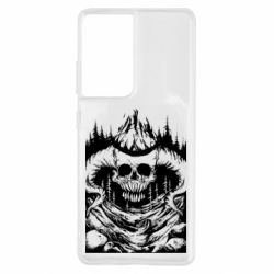 Чохол для Samsung S21 Ultra Skull with horns in the forest