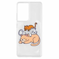 Чехол для Samsung S21 Ultra Sleeping cats