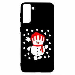 Чехол для Samsung S21 Ultra Снеговик в шапке
