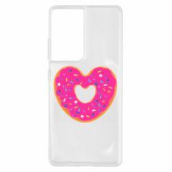 Чехол для Samsung S21 Ultra Я люблю пончик
