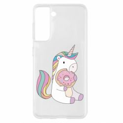 Чехол для Samsung S21 Unicorn and cake