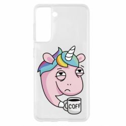 Чохол для Samsung S21 Unicorn and coffee