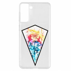 Чехол для Samsung S21+ Watercolor flower in a geometric frame
