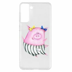 Чехол для Samsung S21+ Watercolor Pig with paper texture