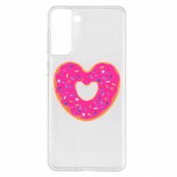 Чехол для Samsung S21+ Я люблю пончик