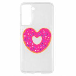 Чехол для Samsung S21 Я люблю пончик