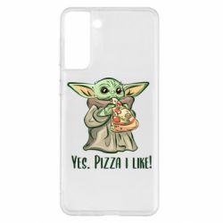 Чехол для Samsung S21+ Yoda and pizza