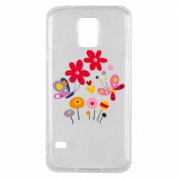 Чехол для Samsung S5 Flowers and Butterflies