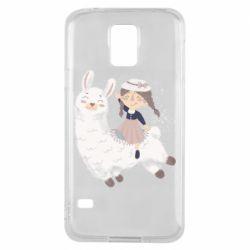 Чохол для Samsung S5 Girl with a lama