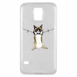 Чехол для Samsung S5 Grumpy Cat On The Rope