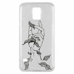 Чохол для Samsung S5Hand with leafs