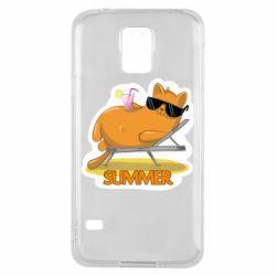 Чохол для Samsung S5 Котик на пляжі