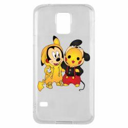 Чехол для Samsung S5 Mickey and Pikachu