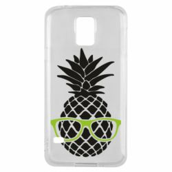 Чехол для Samsung S5 Pineapple with glasses