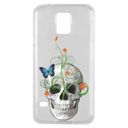 Чехол для Samsung S5 Skull and green flower