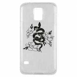 Чохол для Samsung S5Snake with flowers