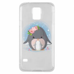 Чехол для Samsung S5 Two cute penguins