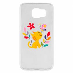 Чехол для Samsung S6 Cat, Flowers and Butterfly