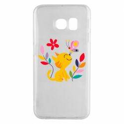 Чехол для Samsung S6 EDGE Cat, Flowers and Butterfly
