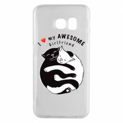 Чехол для Samsung S6 EDGE Cats with red heart