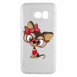Чехол для Samsung S6 EDGE Dog with big glasses