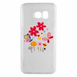 Чехол для Samsung S6 EDGE Flowers and Butterflies