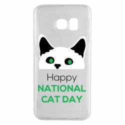 Чехол для Samsung S6 EDGE Happy National Cat Day