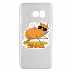 Чохол для Samsung S6 EDGE Котик на пляжі
