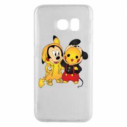 Чехол для Samsung S6 EDGE Mickey and Pikachu