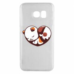 Чохол для Samsung S6 EDGE Сердечко. Котик и собачка