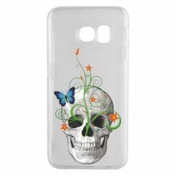 Чехол для Samsung S6 EDGE Skull and green flower