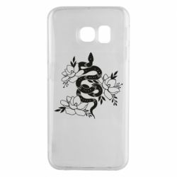 Чохол для Samsung S6 EDGE Snake with flowers
