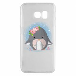 Чехол для Samsung S6 EDGE Two cute penguins