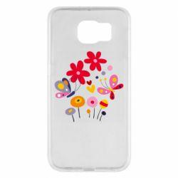 Чехол для Samsung S6 Flowers and Butterflies