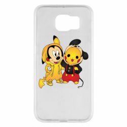 Чехол для Samsung S6 Mickey and Pikachu